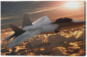 Obraz na Płótnie F-22 Fighter Jet na zachód słońca