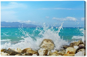 Obraz na Płótnie Fale morza. mirabellno zatoka, kreta