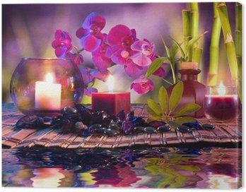 Obraz na Płótnie Fioletowy skład - świece, olej, orchidee i bambusa na wodzie