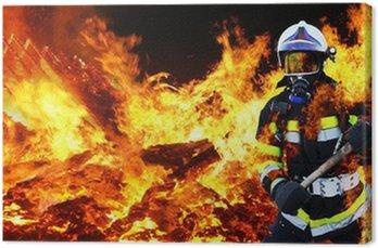 Obraz na Płótnie Firefighter Firefighter Hero