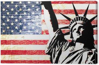 Obraz na Płótnie Flaga USA Statua Wolności