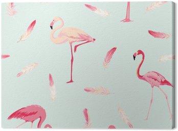 Obraz na Płótnie Flamingo ptaków w tle. Flamingo Feather tło. Retro Seamless Pattern