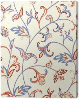Obraz na Płótnie Floral szwu. Kwiat tła wirować. Arabski ornament z fantastycznych kwiatów i liści.