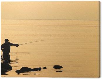 Obraz na Płótnie Flyfishing w zachodzie słońca