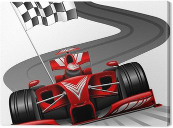 Obraz na Płótnie Formuła 1 czerwony samochód na tor wyścigowy