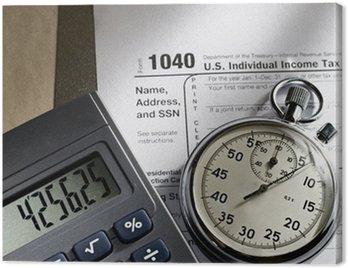 Obraz na Płótnie Formularz podatkowy, stoper i kalkulator