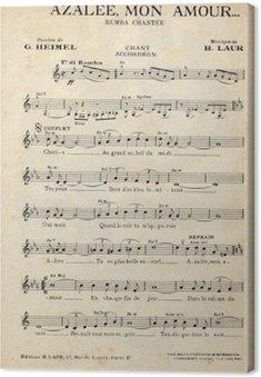 Obraz na Płótnie Francuski antyczny arkusz vintage muzyka.