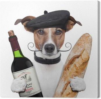 Obraz na Płótnie Francuski beret bagietki wina psa