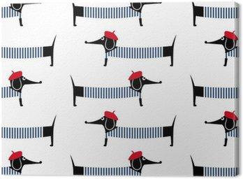 Obraz na Płótnie Francuski styl pies szwu. Cute cartoon paryski jamnik ilustracji wektorowych. Dzieci rysunek styl szczenię tła. Francuski styl ubrany pies z czerwonym berecie i pasiastą sukienkę.