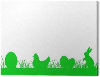 Obraz na Płótnie Frieze trawa niska - Egg, Chicken, Rabbit - Wielkanoc v2
