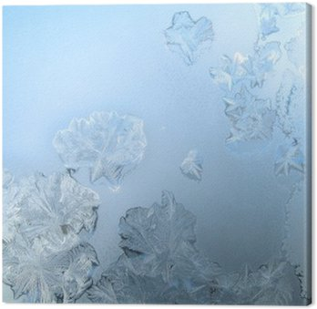 Obraz na Płótnie Frosty wzór na szybie okna zimą