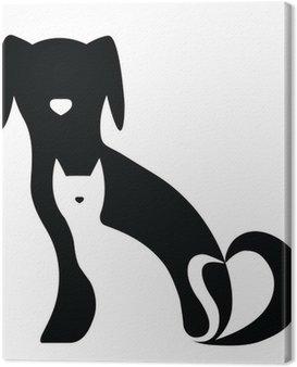 Obraz na Płótnie Funny pies i kot sylwetki skład