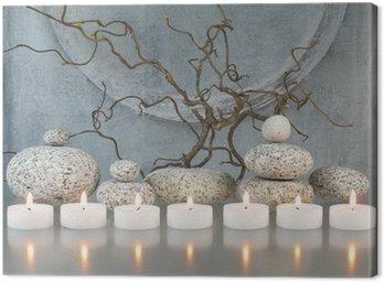 Gałązki, kamienie, świece