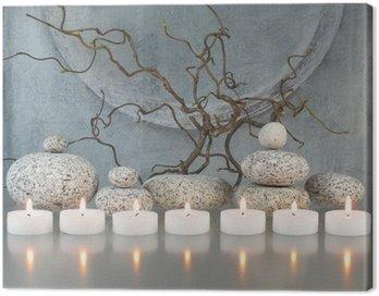 Obraz na Płótnie Gałązki, kamienie, świece