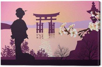 Obraz na Płótnie Geisha gór w tle i japoński brama
