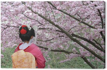 Obraz na Płótnie Geisha i kwitnące drzewo Sakura