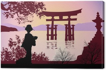 Obraz na Płótnie Geisha i Mount Fuji