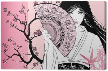 Obraz na Płótnie Gejsza na różowym tle kwiatów