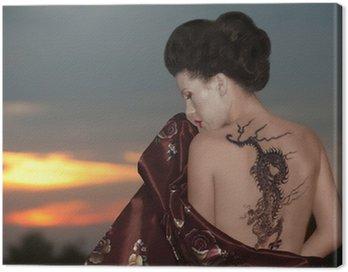 Obraz na Płótnie Gejsza z tatuażem