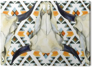 Obraz na Płótnie Geometryczne etniczne szwu z krowy czaszki