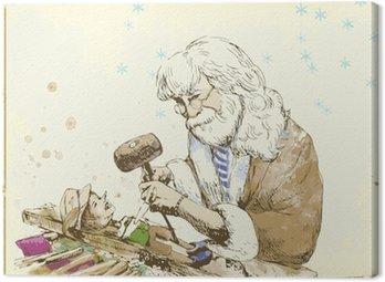 Obraz na Płótnie Geppetto, rzeźbiarz rzeźbienie lalek Pinokio.