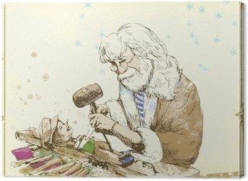 Geppetto, rzeźbiarz rzeźbienie lalek Pinokio.