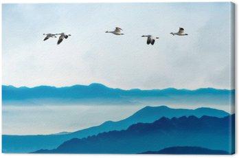 Obraz na Płótnie Gęsi latające na niebieskim tle nieba