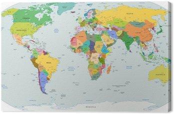 Obraz na Płótnie Globalnej mapie politycznej świata, wektor