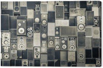 Obraz na Płótnie Głośniki Muzyka na ścianie w monochromatycznym stylu vintage