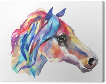 Obraz na Płótnie Głowa konia, mozaiki. Trendy w stylu geometrycznej na białym tle.