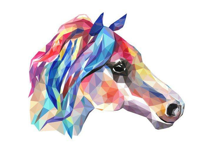 Obraz na Płótnie Głowa konia, mozaiki. Trendy w stylu geometrycznej na białym tle. - Zwierzęta