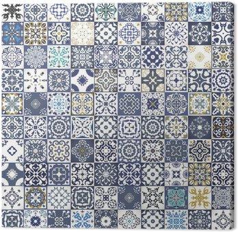 Obraz na Płótnie Gorgeous kwiatowy wzór patchwork. Kolorowe marokańskie lub śródziemnomorskie kwadratowych płytek, plemienne ozdoby. Do druku tapety, wzór wypełnienia tła strony internetowej, tekstur powierzchniowych. Indigo niebieski biały turkusowy