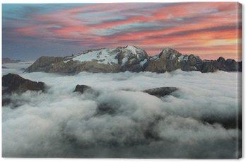 Obraz na Płótnie Góry o zachodzie słońca w Marmolada Włochy Dolomity w zimie