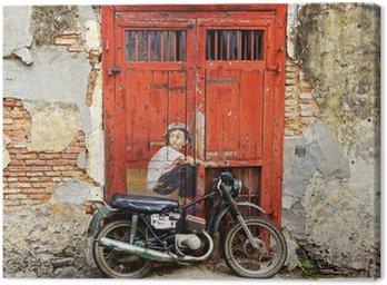 "Obraz na Płótnie Graffiti ""Chłopiec na rowerze""."