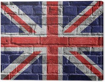 Obraz na Płótnie Great Britain flag na ceglany mur