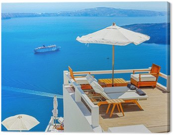 Obraz na Płótnie Grecja wyspa Santorini, Cyklady, Panoramiczny widok kaldery se
