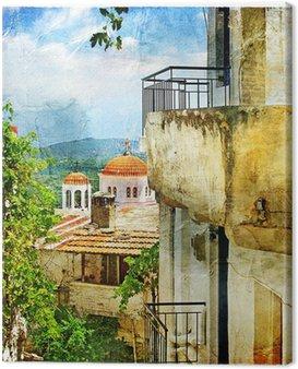 Obraz na Płótnie Greckie ulice i klasztorów-grafika w stylu malarstwa