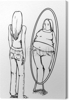 Obraz na Płótnie Grube, cienkie, anoreksja, lustro, anoreksja