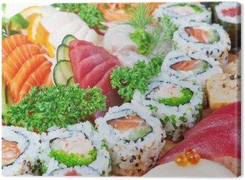 Obraz na Płótnie Grupa luksusowych produktów spożywczych, kawior sushi, łosoś z bliska.