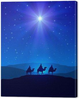 Obraz na Płótnie Gwiazda Betlejemska na błękitne niebo i trzech mędrców