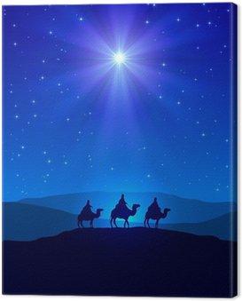 Gwiazda Betlejemska na błękitne niebo i trzech mędrców