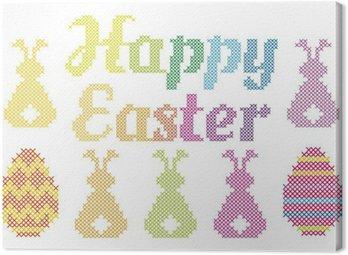 Obraz na Płótnie Happy Easter ściegiem krzyżykowym, wektor