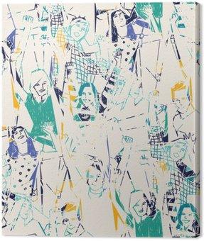 Obraz na Płótnie Happy młodych ludzi Streszczenie szwu.