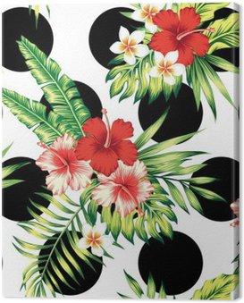 Obraz na Płótnie Hibiskusa i liści palmowych wzór