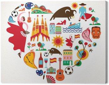 Obraz na Płótnie Hiszpania miłość - serce z zestawu ikon wektorowych