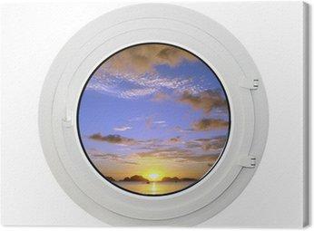 Obraz na Płótnie Hublot i coucher de soleil, lubiący blanc