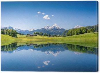 Obraz na Płótnie Idylliczne letnich krajobraz z górskie jezioro i Alpy