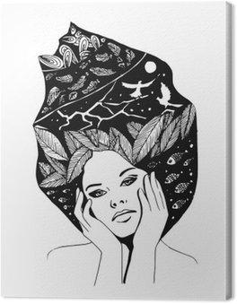 Obraz na Płótnie __illustration, graficzny portret czarno-białe kobiety