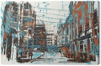 Ilustracja malowanie ulicy miejskiego z grunge tekstury