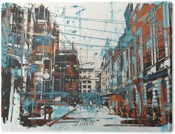 Obraz na Płótnie Ilustracja malowanie ulicy miejskiego z grunge tekstury